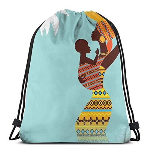 Jiger Drawstring Tote Bag Gym Bags Storage Backpack, African Mother with Her Baby In Ethnic Clothes Retro Style Fashion Image,Very Strong Premium Quality Gym Bag for Adults & Children