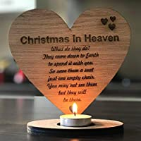 Christmas In Heaven Remembrance Heart tea light holder Oak