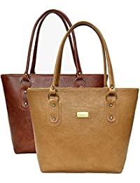 SALEBOX Women's Top Handle Leather Handbag Combo Pack Of Two - Tan- Brown