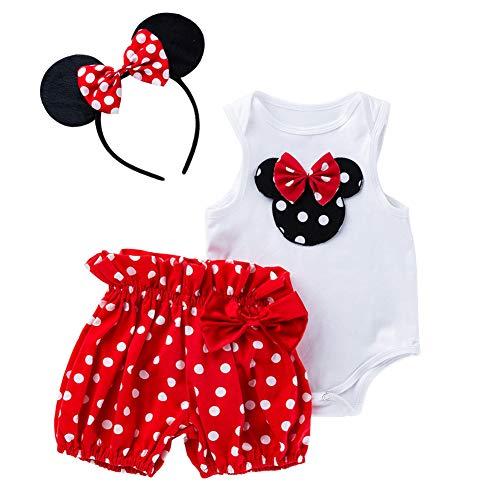 Nicetruc Baby-Kleinkind-Mädchen Sleeveless Spielanzug-Karikatur-Maus gedruckt mit Tupfen Hosen Mausohr-Stirnband Bodysuit Partei-Kostüm-Kleidung Set 80cm Red 3Pcs