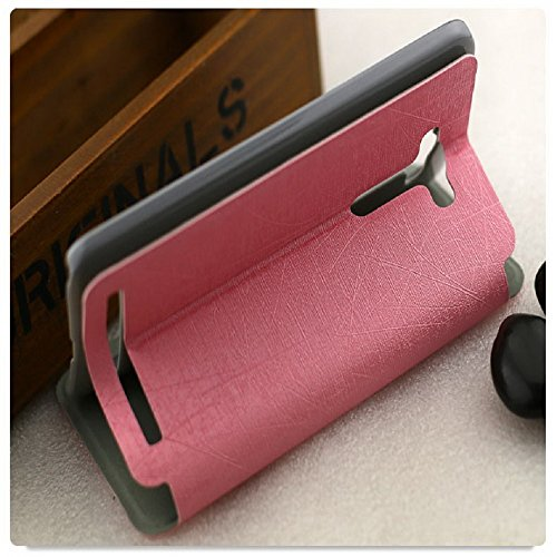 Heartly Premium Luxury PU Leather Flip Stand Back Case Cover For Asus Zenfone 2 Laser ZE550KL ZE551KL ( 5.5 inch ) – Cute Pink