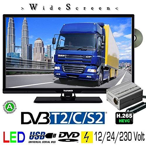 """Telefunken T24X740 MOBIL DVD TV 24"""" Zoll, DVB/S/S2/T2/C USB 12V 24 Volt 230 Volt"""