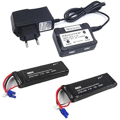 Wwman 2pcs Batterie Original 7,4V 2700mAh 10C Lipo et Chargeur 1to2 pour pièces détachées Hubsan H501S X4 FPV RC Quadcopter