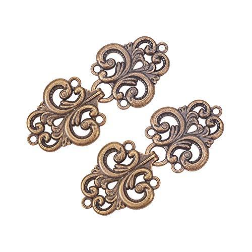 WANDIC Cloak Clasp Verschlussverschlüsse, 2 Paare Swirl Flower Cape Verschlüsse Nähen auf Haken und Augen Cardigan Clip, Antik -