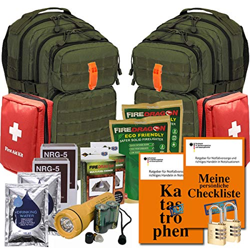 Notfallrucksack gefüllt 2 Personen - 2X 30 Liter Rucksack Assault - Evakuierung - Notunterkunft - Katastrophen (Oliv)