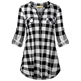 ♥ Loveso♥ Damen Fashion Kariertes Blusen Roll-up Oberteile Reißverschluss Shirt Lässige Casual Damentops
