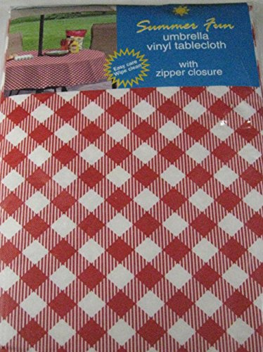 Summer Fun rot und weiß Diamant Karo Flanell Rückseite Vinyl Regenschirm Tischdecken mit Loch und zipper-assorted Größen - Rot Vinyl Zipper