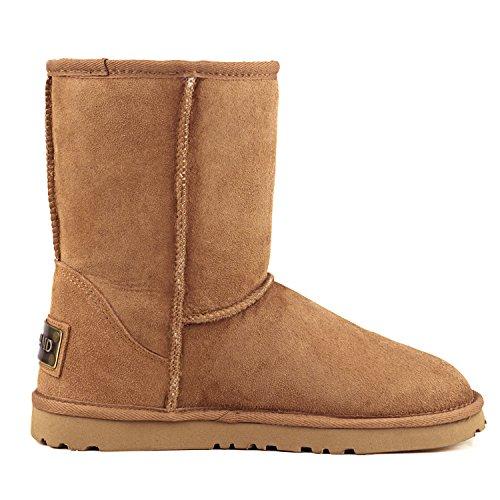 Shenduo Bottes fourrées de mouton femme imperméable, Boots hiver cuir Mi-mollet doublure chaude de laine D9125 Marron