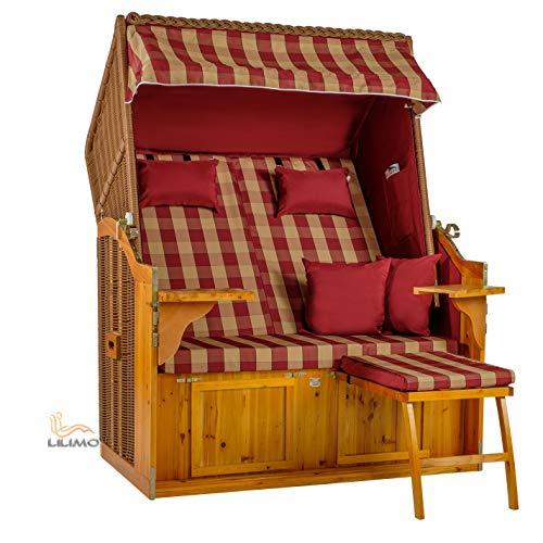 LILIMO  Strandkorb Sylt Royal Bub, Natur, Design Bordeaux-Natur kariert, Binz Ostsee-Serie