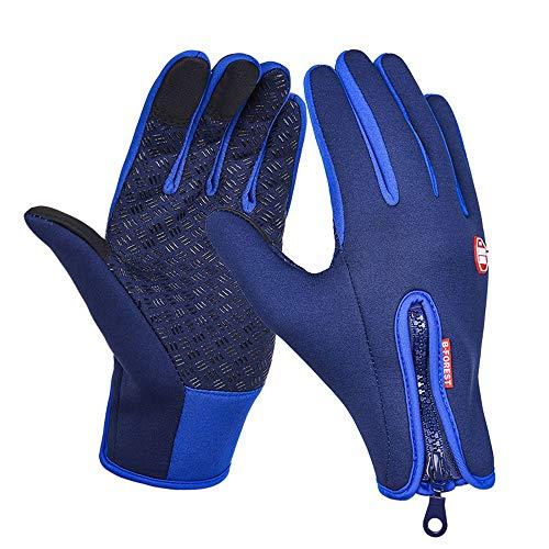Herren Damen Skihandschuhe Winter Warme Skihandschuhe Outdoor Sports Touchscreen Wasserdichte Anti-Rutsch-Handschuhe,Blue,S -