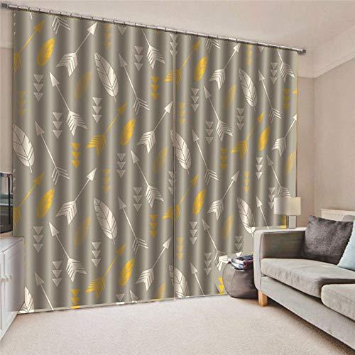Cortinas grises y amarillas opacas para sala 150x166 cm