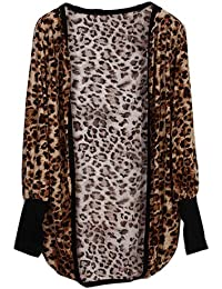 Sommer Cardigan Strickjacke Damen Strick Jacke Leopard Lang Langarm Sexy