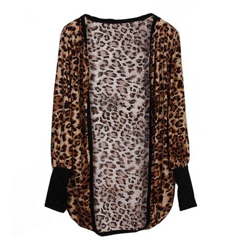 Frauen Langärm Leopardenmuster Strickjacke Freizeit Lang Mantel Jacke 2 Farben