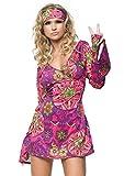 LEG AVENUE 83048 - 2Tl. Retro Go Go Kleid Kostüm Set Mit Kleid Mit Stirnband Kostüm Damen Karneval, S/M (EUR 36-38)