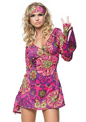 LEG AVENUE 83048 - 2Tl. Retro Go Go Kleid Kostüm Set Mit Kleid Mit Stirnband Kostüm Damen Karneval, S/M (EUR 36-38) (Damen Business-kostüme Für)