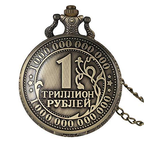 YHBHMF Taschenuhr Antike Bronze Alte Russische Rubel Münzen Quarz Taschenuhr Souvenir Anhänger Uhr Geschenke Für Männer Frauen Reloj