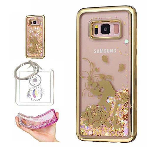 """Preisvergleich Produktbild Hülle Galaxy S8 PLUS (6, 2"""" Zoll) Hülle Transparent Hardcase, 3D Galvanotechnik TPU Kreative Liquid Bling Hülle Case Für Samsung Galaxy S8 PLUS (6, 2"""" Zoll), Dynamisch Treibsand Flüssige Fließend Wasser Glitter Sparkle Klar Hart Plastik Tasche Kristall Handytasche Rückseite Hülle Schale Etui Für Samsung Galaxy S8 PLUS (6, 2"""" Zoll) + Schlüsselanhänger (R) (10)"""