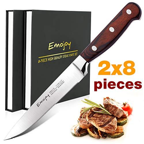 Emojoy Couteau à Steak, Couteaux de Table Premium, Lot de Couteaux de Cuisine 16 pièces, Acier Inoxydable Couverts de Table avec Lame Dentelée, Couteau Manche en Bois Pakka, Couteaux en Gros
