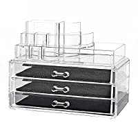 Nestling® Clear Acrylic Make-up Organizer With 3Drawers