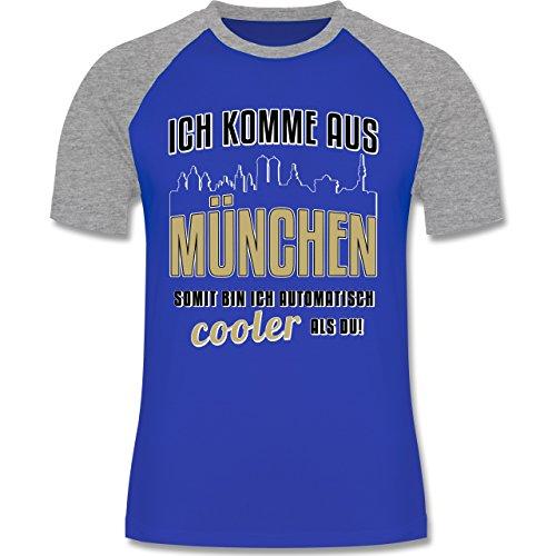 Städte - Ich komme aus München - zweifarbiges Baseballshirt für Männer Royalblau/Grau meliert