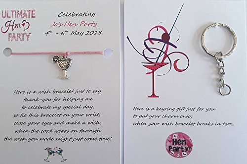ca7c046a70996 5 X Personalised Hen Party Wish Bracelets...On The Reverse Side Of Each  Bracelet There Is A Keyring For You To Put The Wish Charm Onto,Once The  Wish ...