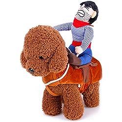 V.JUST Costume de Chien de Compagnie Vêtements Costume pour Animal de Compagnie Costume Cowboy Rider Style, Convient aux Chiens de Moins de 10 kg,S