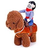 V.JUST Hund Kostüm Kleidung Haustier Outfit Anzug Cowboy Rider Style, passt für Hunde Gewicht unter 10kg,M