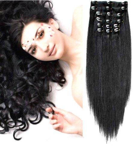 Forever Young Deluxe Jet Black #1 Clip In Human Hair Extension FULL HEAD - 20