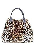collezione alessandro XL Schultertasche Leopard aus weichem Teddymaterial mit Echt Leder Griffen 50cm x 32cm x 18cm
