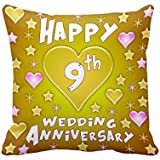 [Sponsored]TiedRibbons® 9th Wedding Anniversary Gift Printed Cushion(12 Inch X 12 Inch) With Filler
