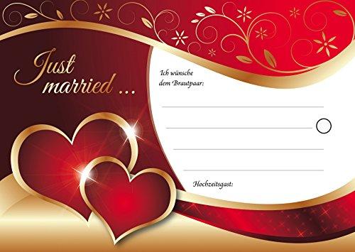 """55\""""FESTLICHE BALLONKARTEN\"""" - elegante, rot-goldene Ballonflugkarten mit zwei Herzen für die Hochzeit, extra leicht, wetterfest, bereits vorgelocht von Edition Colibri (Set 11)"""