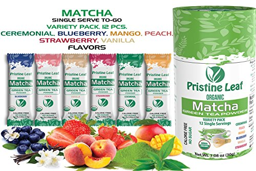 Pristine Leaf | Matcha Single Serve | Flavored Variety Pack | 12 Single Serve Packets to Go Sticks | Strawberry, Mango, Blueberry, Peach, Vanilla, Ceremonial | No Sugar | Calorie Free | Vegan | USDA (Iced Tea Pure Leaf)