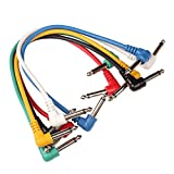 Tenflyer 6PCS guitarra pedal de efectos Patch Cable �ngulo recto Multicolor