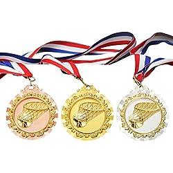 Medalla De Baloncesto, Funpa 3PCS Medalla Grabada Medalla De La Competencia De Metal Juguete Medalla Deportiva Con Cintas