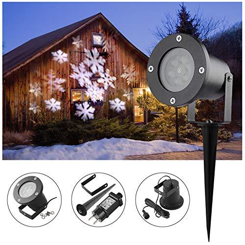 LED Projektor Lichter,LED Projektionslampe Weiß Snowflake Landschaft Weihnachts Wandstrahler Außenstrahler Lichteffekte dynamische Motive, Party Licht, Gartenlicht für Festen DJ Xmas - 3