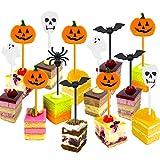 Plastica Halloween Stuzzicadenti Halloween Cupcake Topper Stuzzicadenti Fantasma Decorazione per i Bambini Festa di Compleanno Festa a Tema (50)