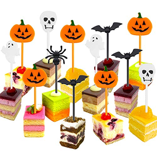 Tatuo Plastic Halloween Picks Halloween Cupcake Topper Picks Ghost Decor for Kids Birthday Party Themed Party (50)