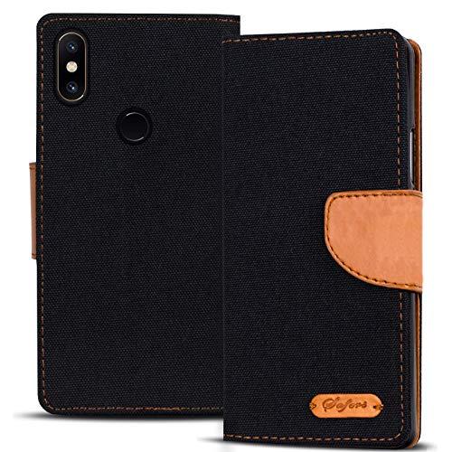Verco kompatibel mit Xiaomi Mi Mix 2s Hülle, Schutzhülle für Mi Mix 2s Tasche Denim Textil Book Case Flip Case - Klapphülle Schwarz