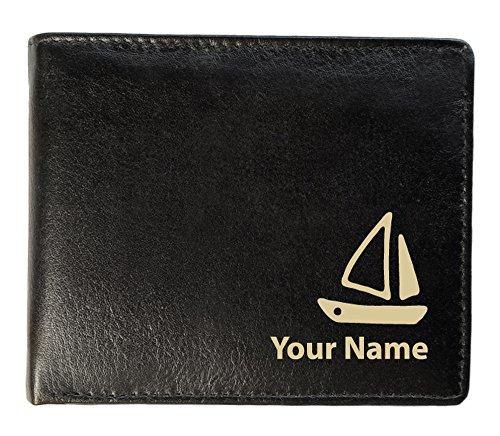 Segelboot Design, personalisierbar Herren Brieftasche aus Leder (Sandringham Stil) (Laser Segelboot)