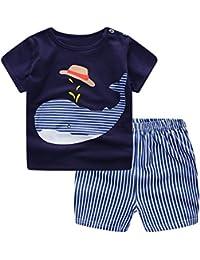 Conjuntos Bebe Niño Verano, Zolimx Reborn Bebes Recien Nacidos Dinosaurios de Dibujos Animados Camisetas Rayas + Pantalones Cortos Ropa Conjuntos