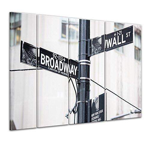 Keilrahmenbild - Wallstreet - Broadway - Strassenschild - Bild auf Leinwand - 180x120 cm vierteilig - Leinwandbilder - Städte & Kulturen - New York - Finanzdistrikt in Manhattan