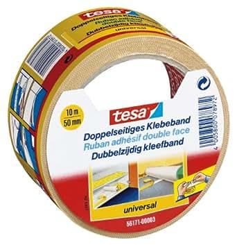 tesa Doppelseitiges Klebeband für Teppich Verlegung sowie Bastel- und Dekorationsarbeiten, 10m x 50mm