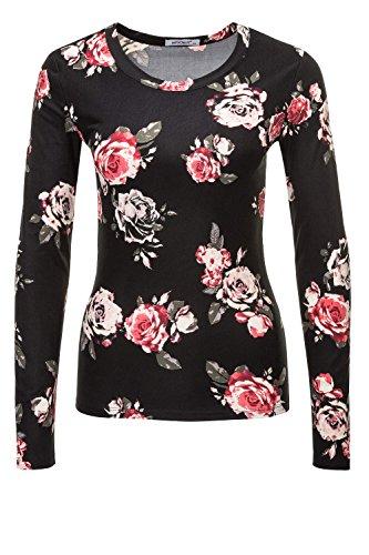 Hailys Damen Langarmshirt Longsleeve Stretch Print Shirt (M, Black/Flowers) (Print-shirts)
