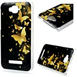 Alcatel One Touch Pop C7 Funda Carcasa - MAXFE.CO Funda Rigida Policarbonato Dura Cover Case PC Ultra fina Marco transparente con Patrón de Mariposas Doradas