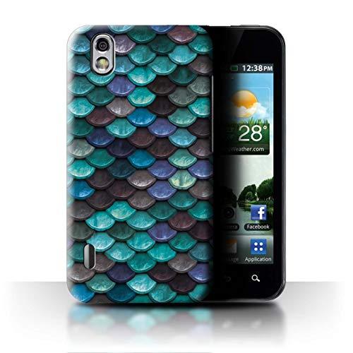 Stuff4® Hülle/Case für LG Optimus Black P970 / Wasserblau Muster/Aquarell Meerjungfrau Skalen Kollektion (Black P970 Optimus Lg)