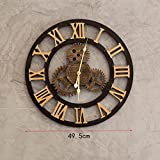 JH Wand-Lagerregal Wand-Hängender Dekorationsrahmen der Weinlese industrieller Wind, Kreative Wohnzimmerdekorations-Gangwanduhr, alte Retro- Uhr 49.5cm der Stangenwand (Farbe : B)