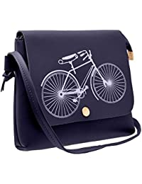 Karigaari Classic Gorgeous PU Synthetic Leather Cycle Printed Crossbody  Strap Sling Bags for Women and Girls a12affcf270e2