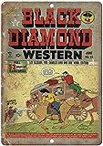 CHUNZO Black Diamond Western ComicAffiche de Fer Plaque de Porte Signe Métal Panneau Étain Enseignes Aluminium d'avertissement Mur décoration café Bar