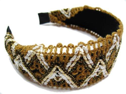 rougecaramel - accessoires cheveux - Serre tête/headband large tricoté - marron