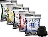 5x50 capsule Borbone Respresso DEGUSTAZIONE 50 NERA, 50 BLU, 50 RED, 50 ORO,50 DEK compatibili Nespresso immagine